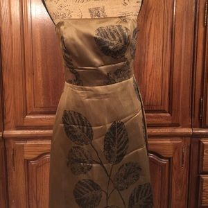 Talbots Strapless Leaf Print Silk Dress