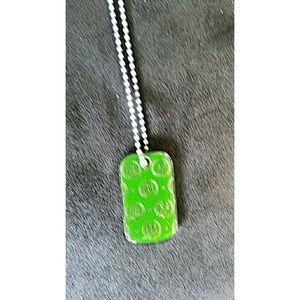 Victoria's Secret Green Dog Tag Logo Necklace