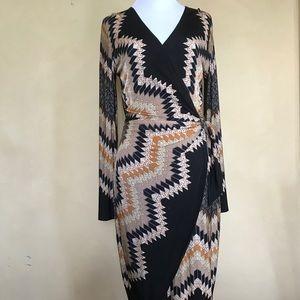 Cache Printed Long Sleeve Dress.