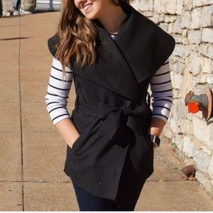 Jackets & Blazers - Black Belted Vest