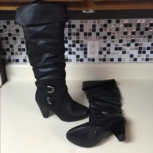Rampage ellerson black faux leather boots size 8