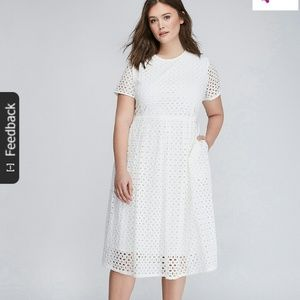 Eyelet midi fit and flare dress with pockets!!!