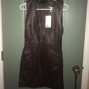 BRAND NEW H&M Brown leather sleeveless dress