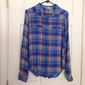 Blue & Orange Plaid Button Down Shirt