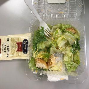 Half eaten Chartwells salad