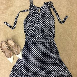 Navy and white key hole dress
