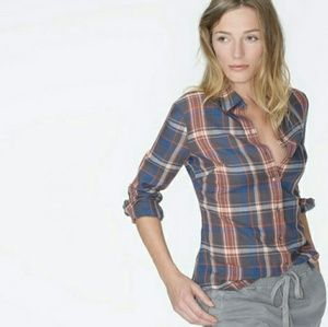 James Perse Harvard Flannel Tomboy Button Down Top