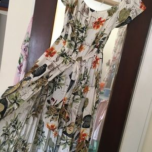 Floral romper with long skirt/cape