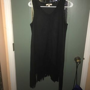 Suede black fringe dress, worn once