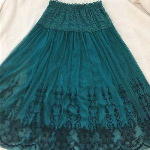 Lace Teal Skirt HK Fashion