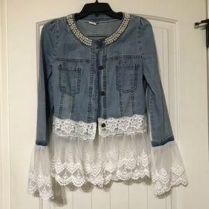 Blue Jean Embellished & Lace Top/Jacket