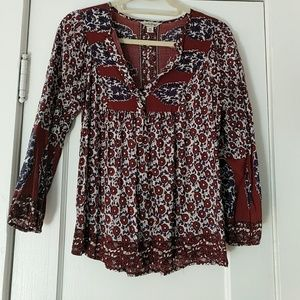 Lucky Brand Burgundy/Purple Floral Blouse