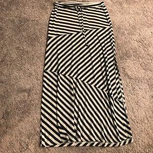 Seven 7 Long Stripe Soft Maxi Skirt M
