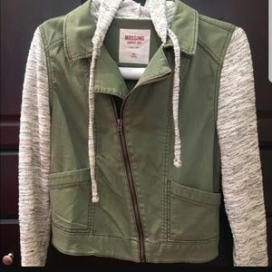Soft Sleeve Green Moto Jacket