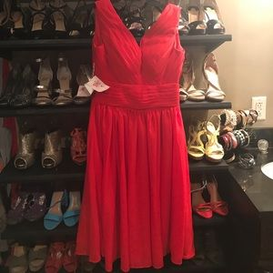 "Red Elegant V -Neck Dress ""New"""