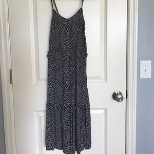 Midi Dress Black White Spaghetti Straps XS