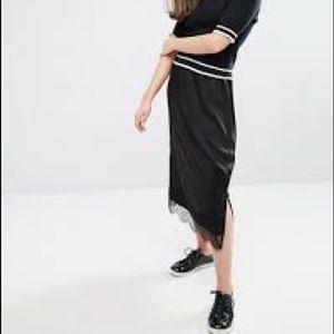 Lace trim midi skirt from asos brand Monki