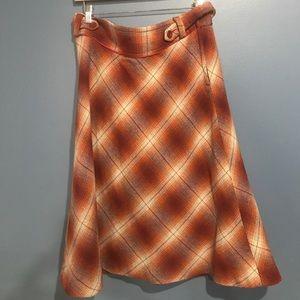 H&M burnt orange fall midi flannel skirt sz 12