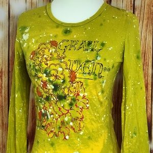 Unholy Grail Yellow Destroyed Long Sleeve Small