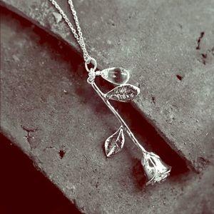 Silver Plated Rose & Chrystal Tear Pendant