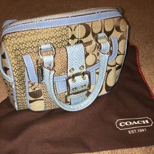 Coach Purse Handbag Blue & Monogram Cute Pockets