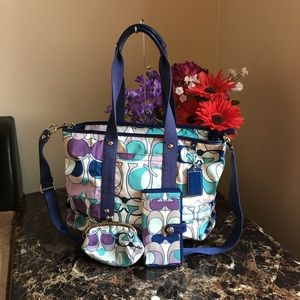 Coach Kyra Scarf Print Tote/wallet and coin wallet