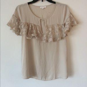 Tan colored gorgeous Lace Dressy blouse! Size M