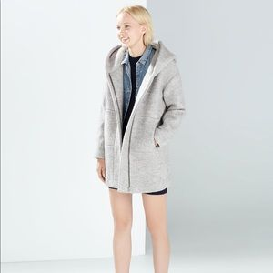 Modern Grey Wool Cocoon Coat with Hood