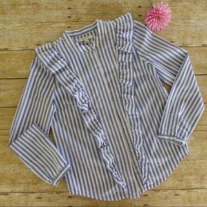 Madewell blouse, ruffled, blue/white stripe, NWOT