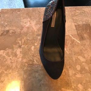 Suede navy pump w glitter heel