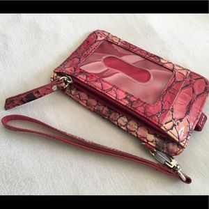 Lodis patent leather snake skin wristlet wallet