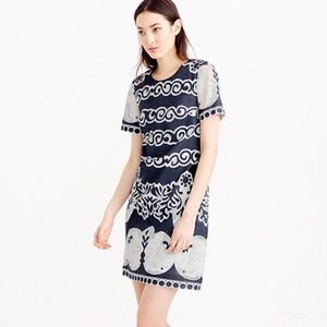J.Crew Blue and White Ornate Lace Shift Dress 12