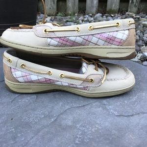Sperry Pink Plaid Topsiders - 7.5