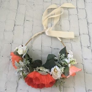 Lila Rose Handmade Accessories - Handmade Red Pink and White Floral Crown w Ribbon