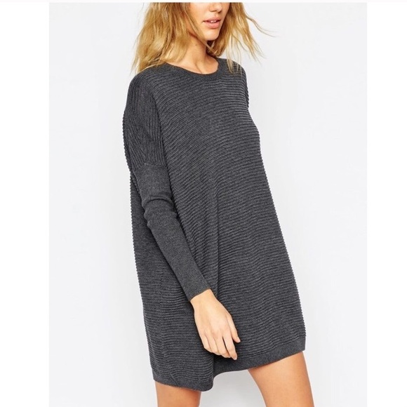 239530fe4f3 ASOS Dresses   Skirts - ASOS Oversized Gray Ribbed Knit Sweater Dress