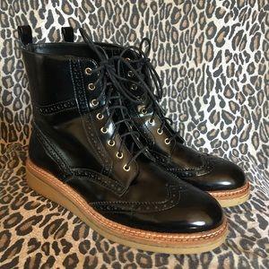 Zara Black Brogue Boots US 9 EU 40
