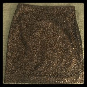 Ann Taylor Brown Sequin Skirt