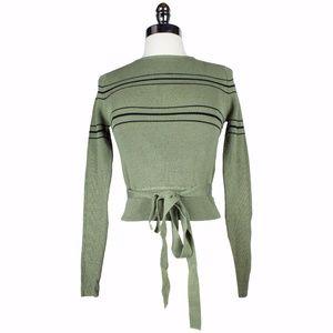 NWT Zara Army Green Cropped Striped Tie Sweater M