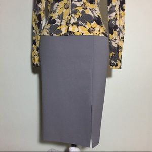 Gray Pencil Skirt with Front Slit Size 10 No Brand