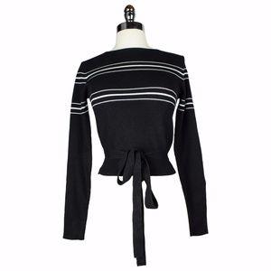 NWT Zara Black Cropped Striped Tie Sweater M