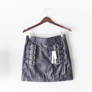 Topshop Leather Buckle Detail Mini Skirt