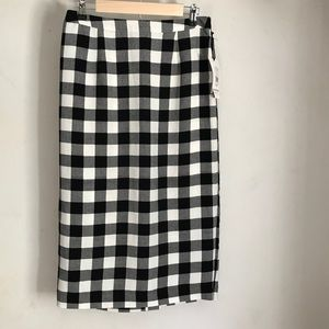 Who What Wear Black and White Midi Skirt