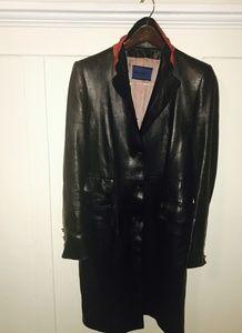 Balmain full length leather coat
