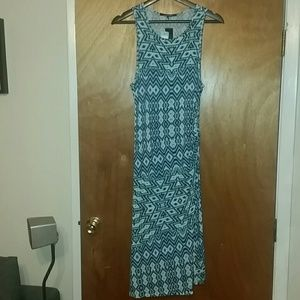 Teal/Blue Patterned Knit Dress
