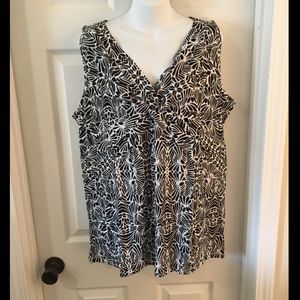 Sz 16 LB Sleeveless Knit Top Black & White