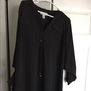 Large black maternity dress with cuffed sleeves