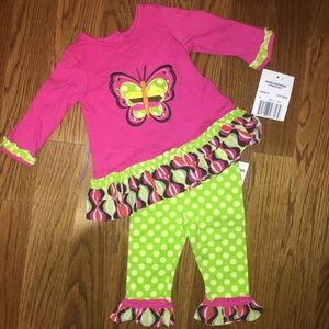 Rare Editions 3-6m Girls Butterfly Pants Outfit