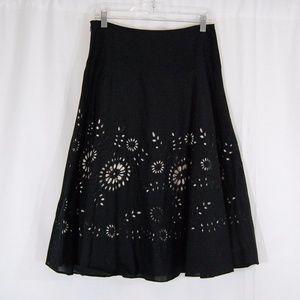 Michael Kors B&W Eyelet Overlay Skirt
