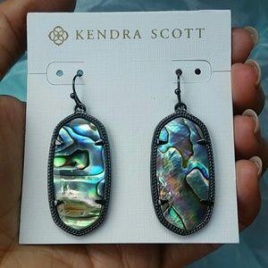 Kendra Scott Gunmetal Abalone Elle earrings
