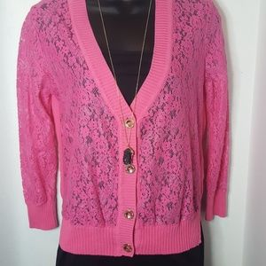Pink Juicy Couture lace sweater